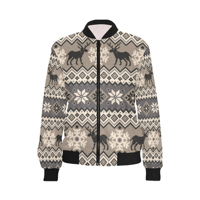 Nordic Pattern Print Design A01 Women Bomber Jacket