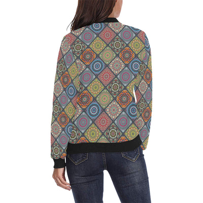 Bohemian Pattern Print Design 05 Women Bomber Jacket