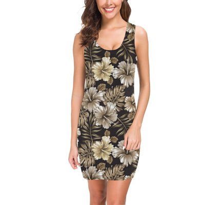 Brown Hibiscus Tropical Mini Dress