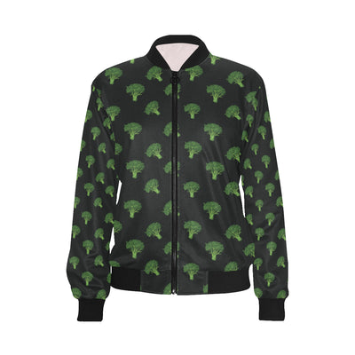Broccoli Pattern Print Design 04 Women Bomber Jacket