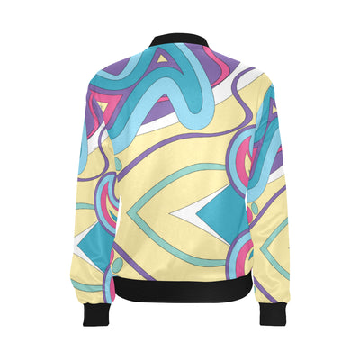 Funky Retro Pattern Print Design A01 Women Bomber Jacket
