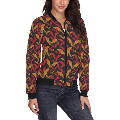 Bat Pattern Print Design 01 Women Bomber Jacket