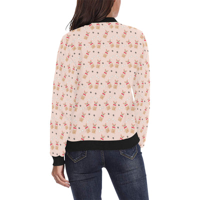Chihuahua Pattern Print Design 04 Women Bomber Jacket
