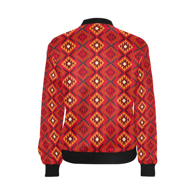 Aztec Pattern Print Design 06 Women Bomber Jacket