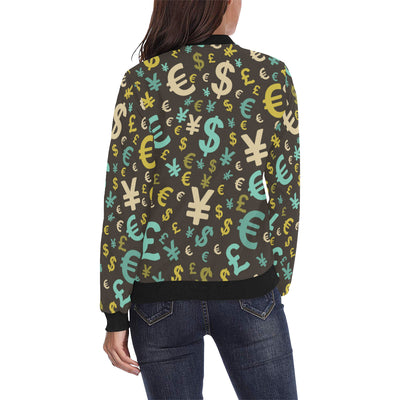 Money Pattern Print Design 01 Women Bomber Jacket