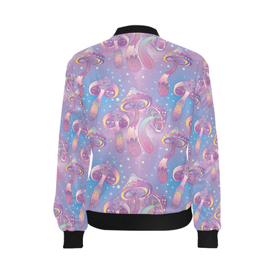 Psychedelic Mushroom Pattern Print Design A01 Women Bomber Jacket