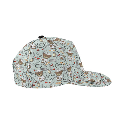 Nurse Bear Pattern Print Design A01 Snapback Hat