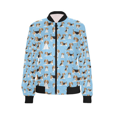 Beagle Pattern Print Design 03 Women Bomber Jacket