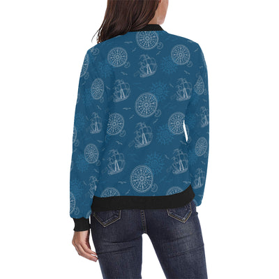 Nautical Pattern Print Design A04 Women Bomber Jacket