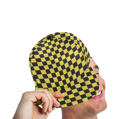 Checkered Yellow Pattern Print Design 03 Snapback Hat