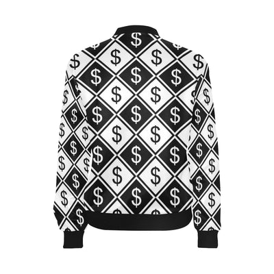 Money Pattern Print Design 04 Women Bomber Jacket