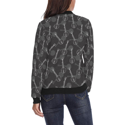 Banjo Pattern Print Design 03 Women Bomber Jacket