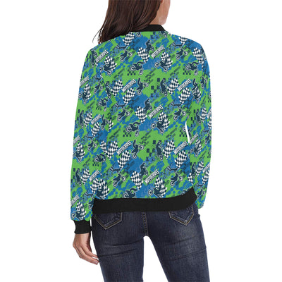 Motocross Pattern Print Design 04 Women Bomber Jacket