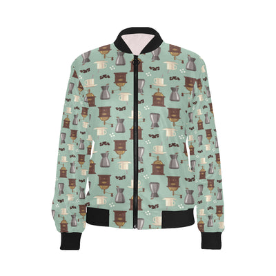 Coffee Pattern Print Design 04 Women Bomber Jacket
