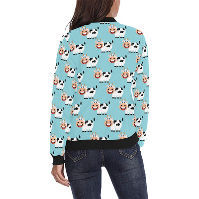 Cattle Cute Pattern Print Design 01 Women Bomber Jacket