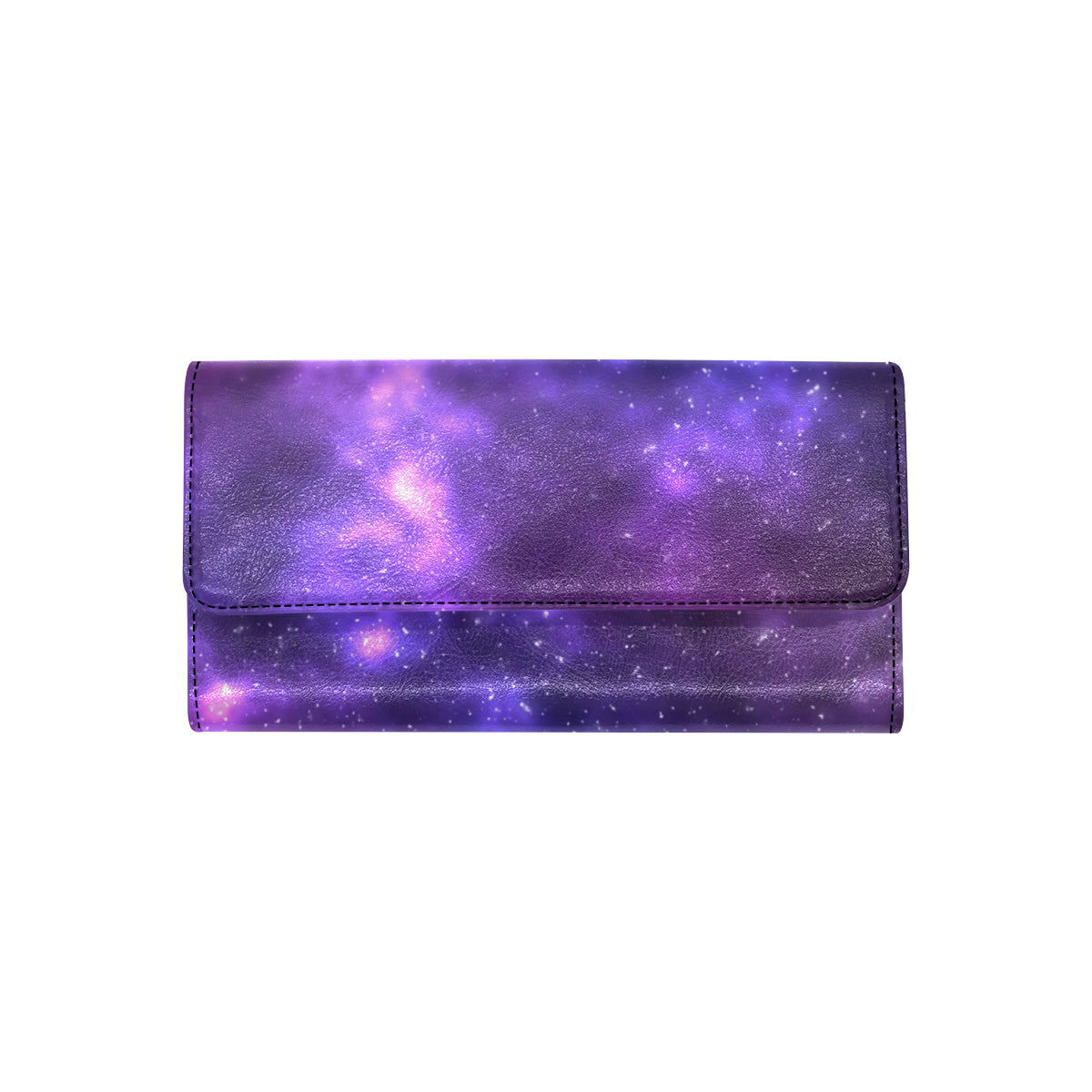 Celestial Purple Blue Galaxy Women Trifold Wallet