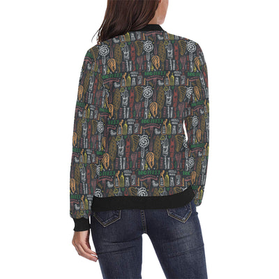 Barbecue Pattern Print Design 03 Women Bomber Jacket