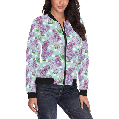 Lilac Pattern Print Design 02 Women Bomber Jacket
