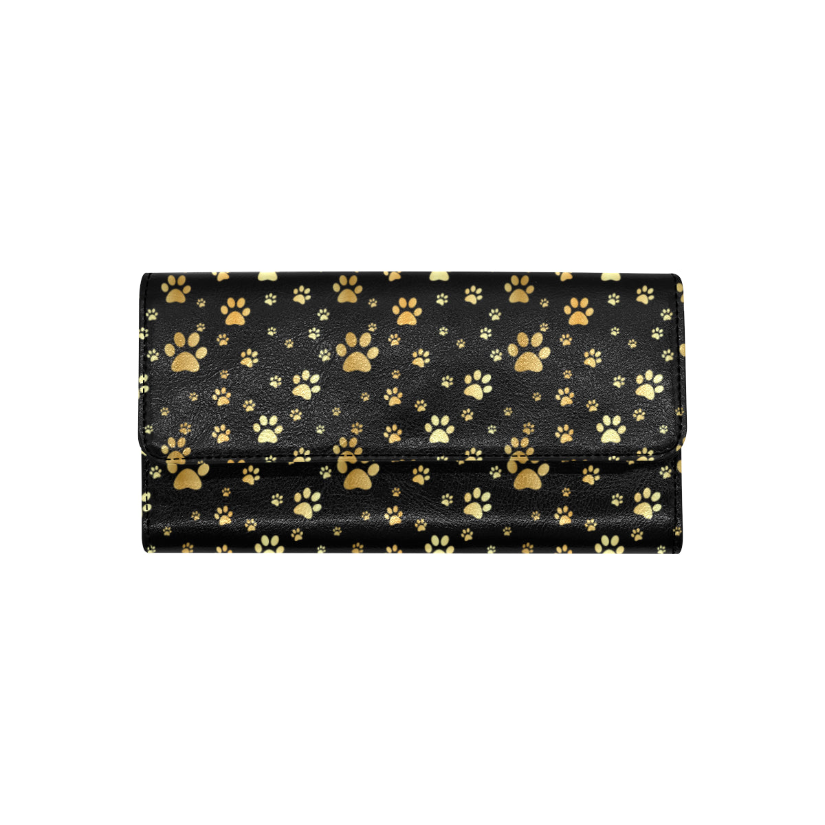 Paw Gold Print Women Trifold Wallet