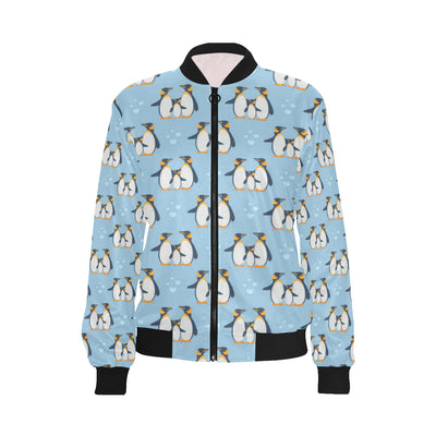 Penguin Pattern Print Design A04 Women Bomber Jacket