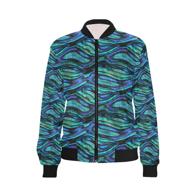 Abalone Pattern Print Design 02 Women Bomber Jacket