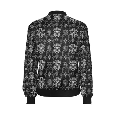Cross Pattern Print Design 04 Women Bomber Jacket