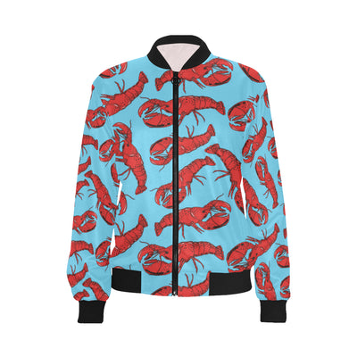 Lobster Red Pattern Print Design 03 Women Bomber Jacket