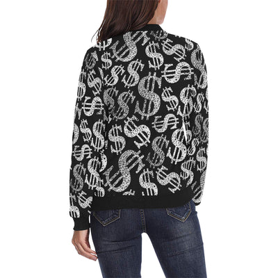 Money Pattern Print Design 02 Women Bomber Jacket