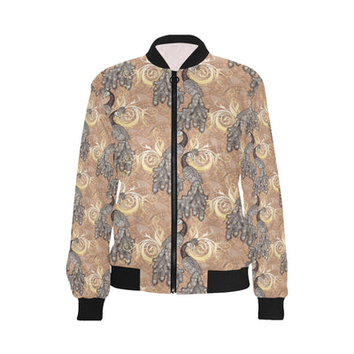 Peacock Pattern Print Design A05 Women Bomber Jacket