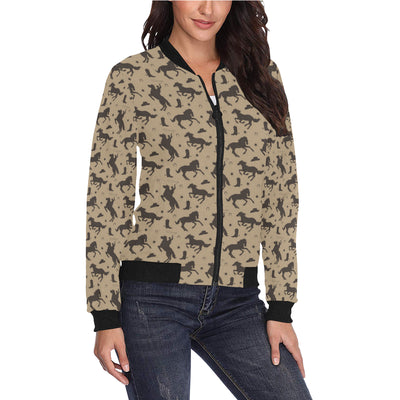 Cowboy Pattern Print Design 05 Women Bomber Jacket