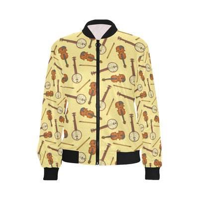 Banjo Violin Pattern Print Design 01 Women Bomber Jacket