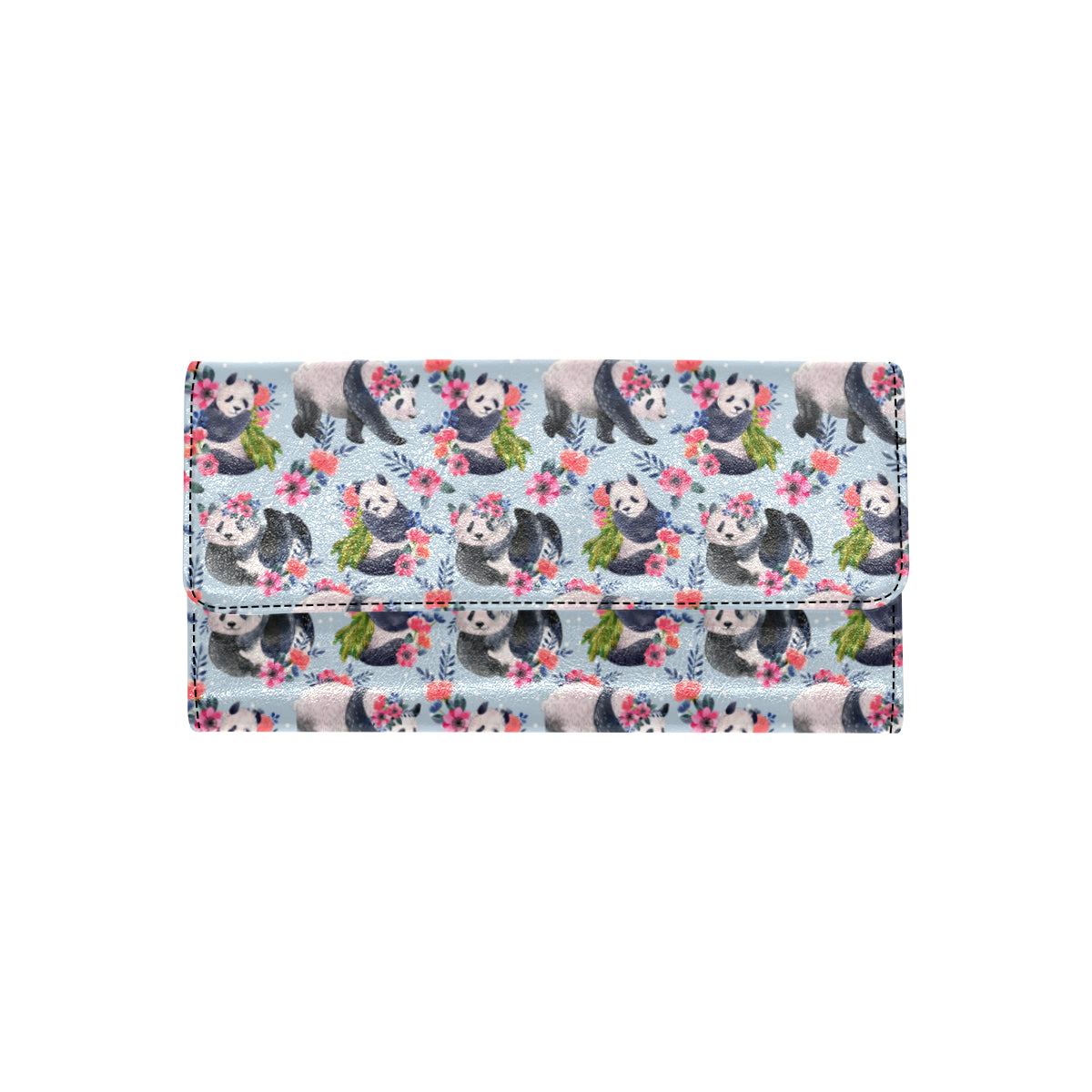 Panda Bear Flower Design Themed Print Women Trifold Wallet