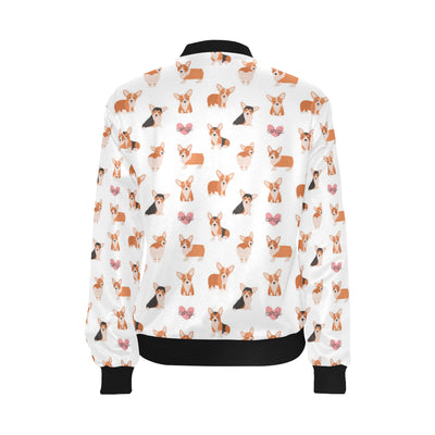 Cardigan Welsh Corgis Pattern Print Design 02 Women Bomber Jacket