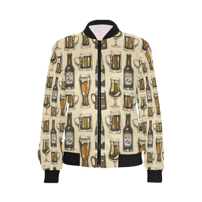 Beer Pattern Print Design 04 Women Bomber Jacket