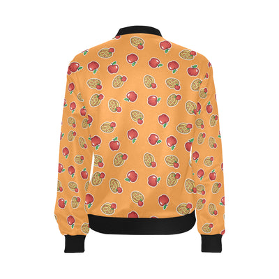 Apple Pie Pattern Print Design 02 Women Bomber Jacket