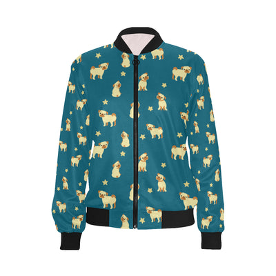Pug Pattern Print Design A06 Women Bomber Jacket