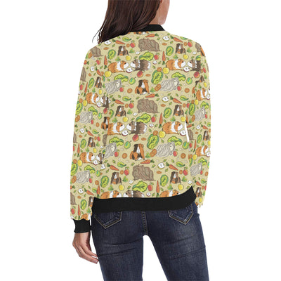 Guinea Pig Pattern Print Design 02 Women Bomber Jacket
