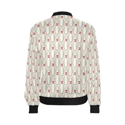 Bowling Pin Pattern Print Design 01 Women Bomber Jacket