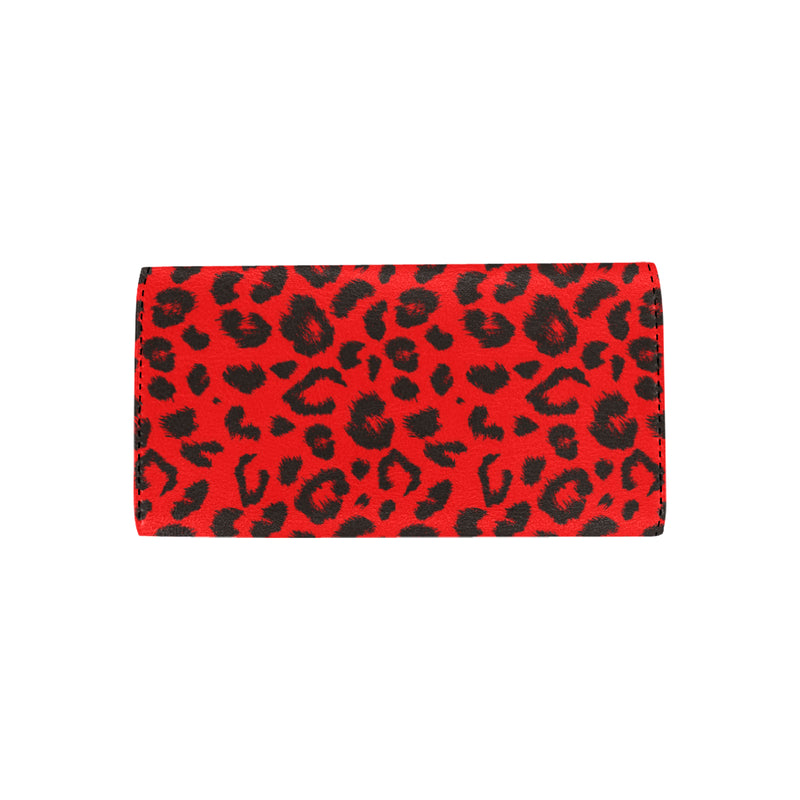 Leopard Red Skin Print Women Trifold Wallet