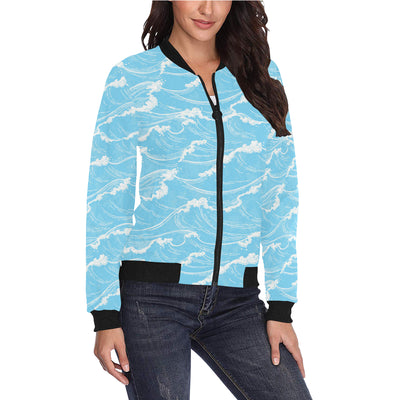 Ocean Wave Pattern Print Design A01 Women Bomber Jacket