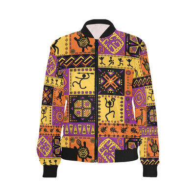 African Pattern Print Design 02 Women Bomber Jacket
