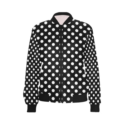 Polka Dot Black White Pattern Print Design 03 Women Bomber Jacket