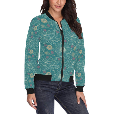 Lotus Pattern Print Design 01 Women Bomber Jacket