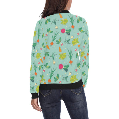 Radish Pattern Print Design A01 Women Bomber Jacket