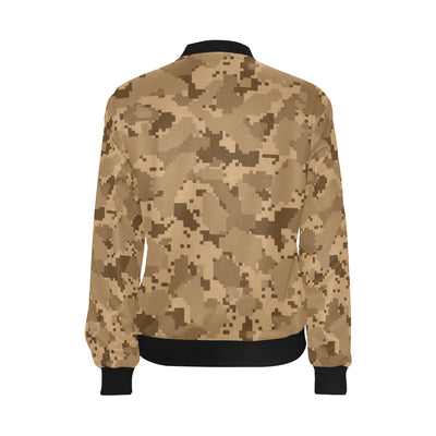 ACU Desert Digital Pattern Print Design 01 Women Bomber Jacket