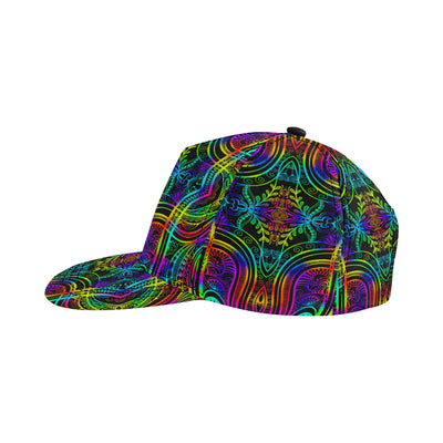 Neon Trible Rainbow Pattern Print Design A01 Snapback Hat