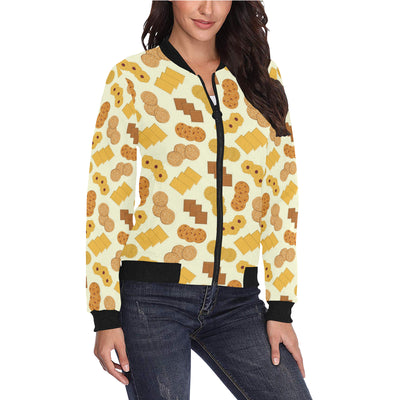 Cookie Pattern Print Design 06 Women Bomber Jacket