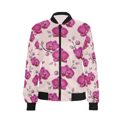 Orchid Pattern Print Design A02 Women Bomber Jacket
