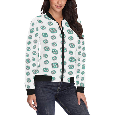 Cancer Zodiac Pattern Print Design 04 Women Bomber Jacket