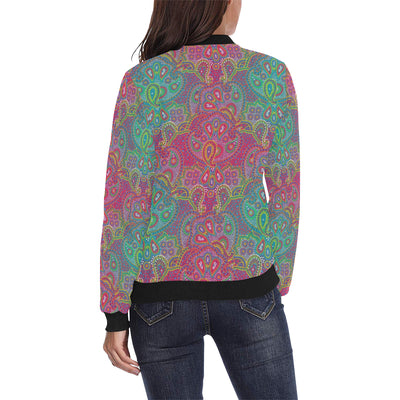 Boho Pattern Print Design 02 Women Bomber Jacket
